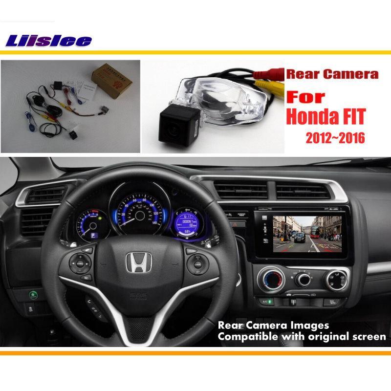 Liislee Car Câmara de Visão Traseira/Back Up Câmera Reversa Conjuntos Para Honda FIT 2013 2014 2015 2016/RCA & Tela Original Compatível