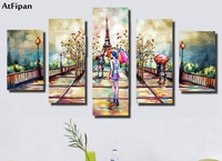 AtFipan Realist Wall Pictures 5 Pieces Canvas Paintings Abstract Unframed Home Decor Picture for Living Room Cityscape Pictures