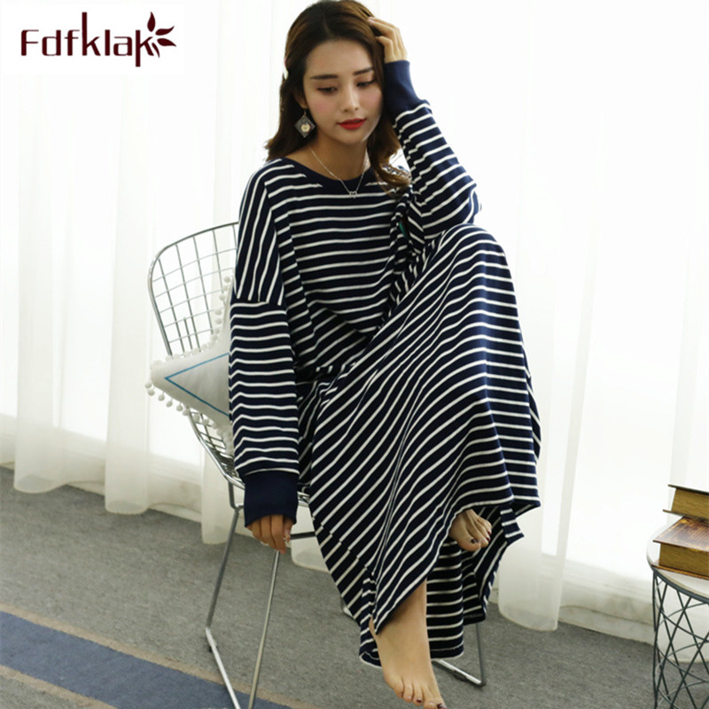 Fdfklak Casual Loose Nightgown Women Long Sleeve Night Dress Large Size Women's Sleepwear Gown Nightdress Female Nightshirt