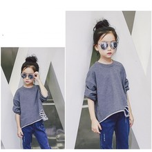 New 2016 Fashion Girl Boy tide solid color long-sleeved T-shirt Long Sleeve Cute Children Clothing Kids Girls loose Kids Clothes