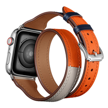 Laforuta Double Tour Loop for Apple Watch band 40mm 44mm iWatch Leather Strap 38mm 42mm Extra-long Belt High Quality Braclet