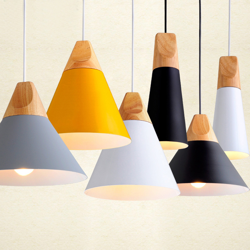 Modern Wood Dining Room Lights Pendant Lamp Art Pendant Lights Lamparas Colorful Aluminum lamp shade Luminaire For Home Lighting free shipping modern pendant lights indoor lighting lustres home decoration colorful lamp green yellow blue aluminum for kitchen