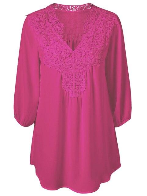 5XL Plus Size Tops Women Chiffon Blouse Shirt Lace Up Blouses V neck Loose Blusas Work Ladies Clothes Tunic 2017 Spring 2