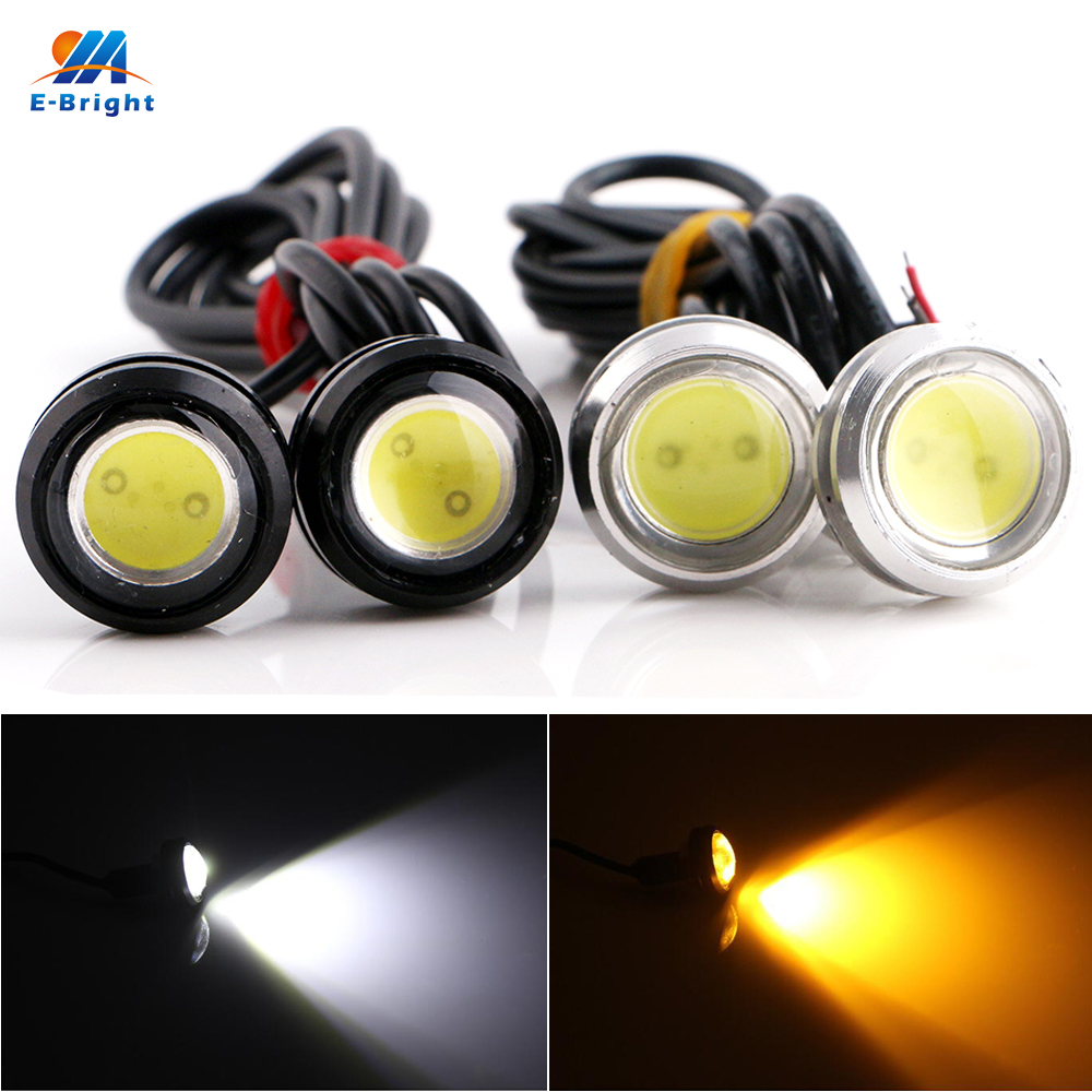 1pair 3w Day Lights Led Eagle Eye Car Light Drl Daytime Running Lamps Auto Bulbs 23mm 12v Dc White Yellow Red Dependable Ym E-bright 2pcs
