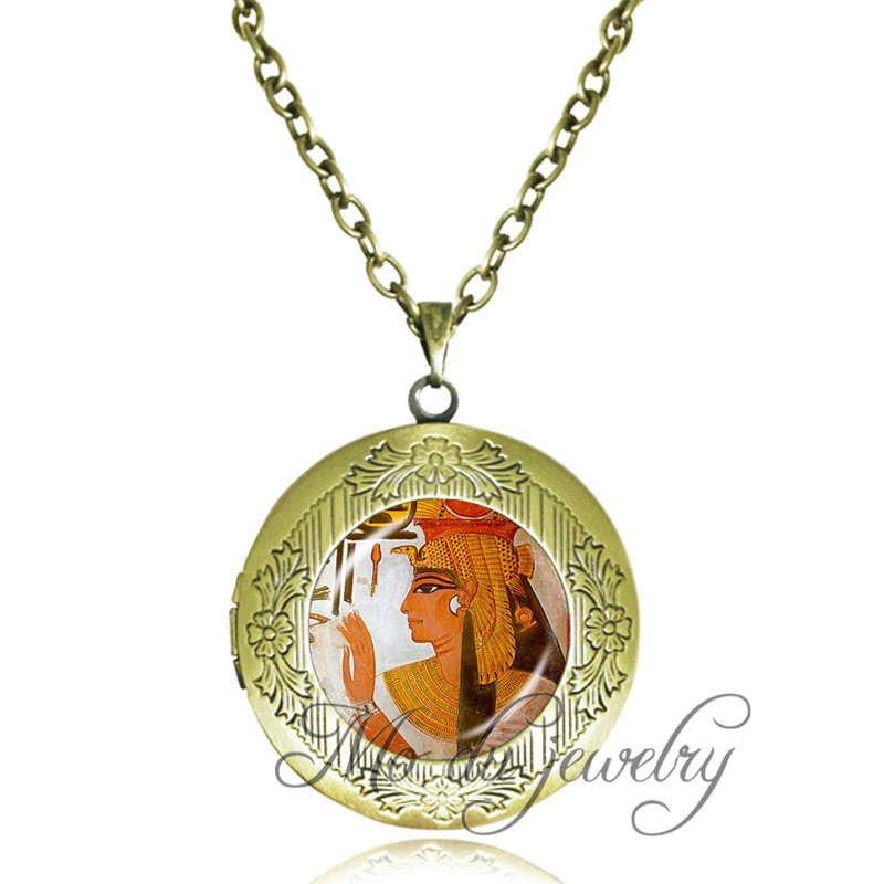 Egypt jewelry Goddess anime art picture photo locket necklace royal jewelry antique bronze chain long necklace for women men