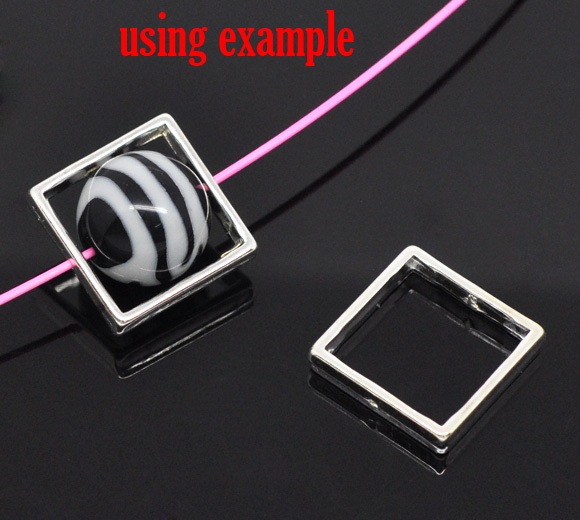 DoreenBeads Zinc Metal Alloy Beads Frames Square Silver Plated (Fits 15mm Beads) 20mm( 6/8