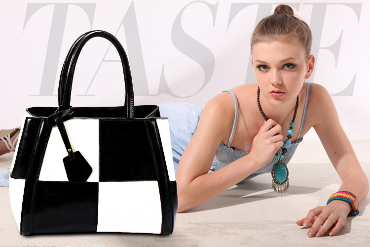 Women Genuine Leather Hobo Tote Designer Handbag Branded Bag Mix Color Check Plaid Style Black White егерь последний билет в рай котенок