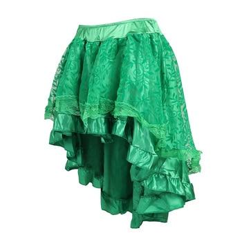 Emerald Green, Black, Brown Asymmetrical Satin Corset Skirt
