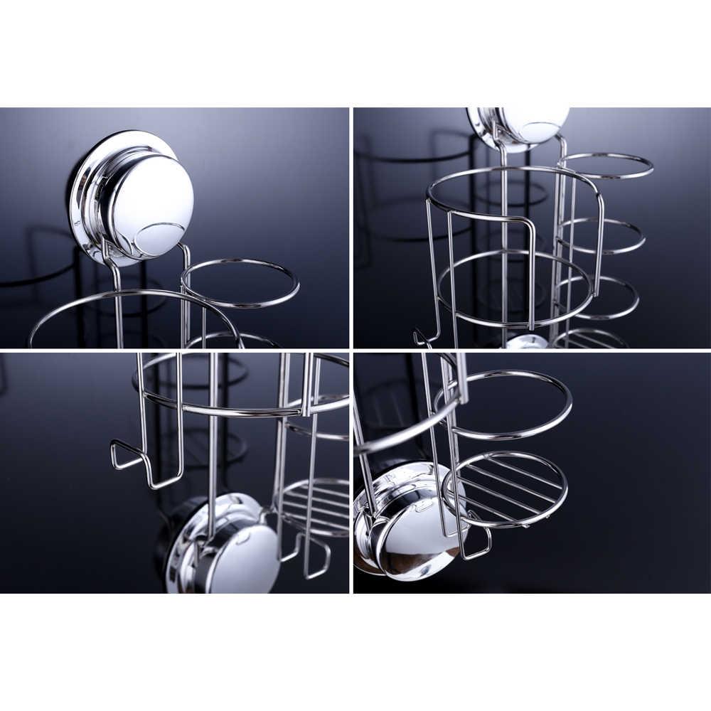 벽 마운트 스테인레스 스틸 헤어 드라이어 및 Straightener 홀더 선반 저장소 후크 흡입 컵 또는 호텔 욕실에 대 한 나사