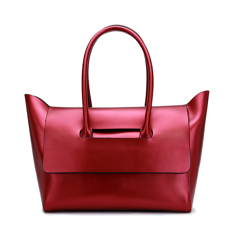 Womens new European and American style leather bag Simple and generous hand bag Leather tote bag Soft leather shoulder Messenge