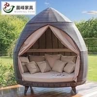 2 pces pacote  cabana inspirado jardim lounge cama com dossel/2.2 m alta ao ar livre cottage cabine/almofadas macias e cortina incluído