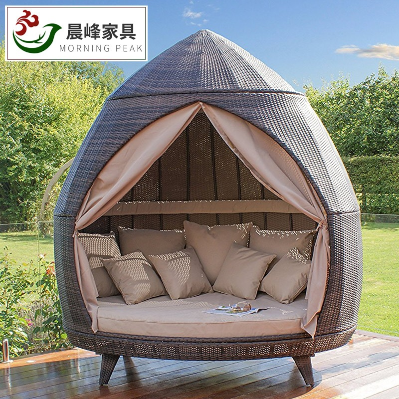Hut Inspired Garden Lounge Bed With Canopy / 2.2m High Alfresco Cottage Cabin / Soft Pillows And Curtain Included