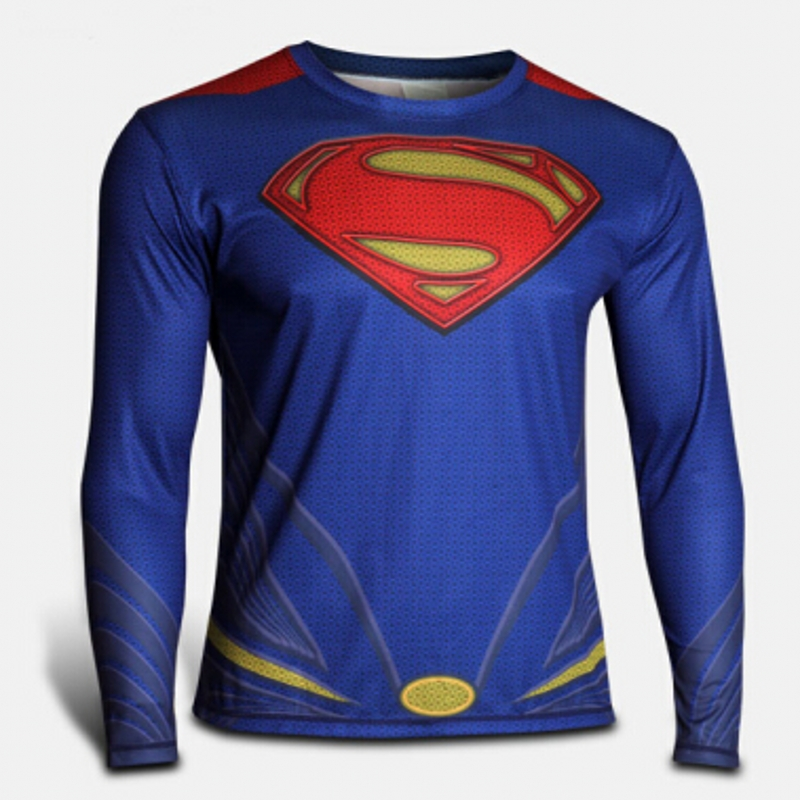 2016 New Fitness Men long Sleeve  t shirt Men Thermal Muscle Bodybuilding spiderman Tights Shirt