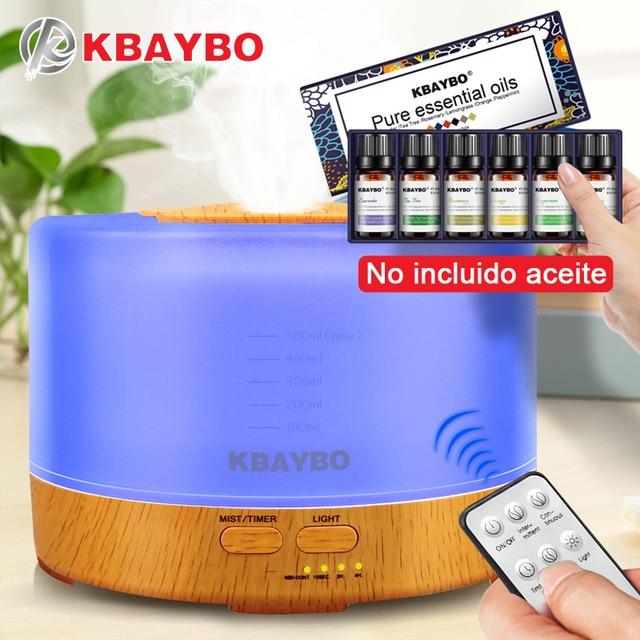 Difusor de aceite esencial de Aroma de Control remoto humidificador de 500 ml con 4 Ajustes de temporizador lámpara LED de 7 colores cambiantes