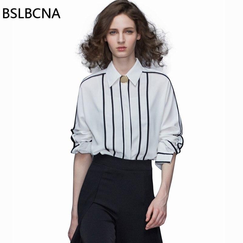 2019 Feminina Chemisiers Femelle Rayée Vêtements Mousseline Longues En Européen Et Manches Femmes Qh127 De White Hauts Printemps D'été Blusa Soie Chemise 48WU8Oxrw