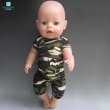 clothes for dolls fits 43 cm Baby Born zapf doll Camouflage sportswear suit for Children's Christmas gift(China)