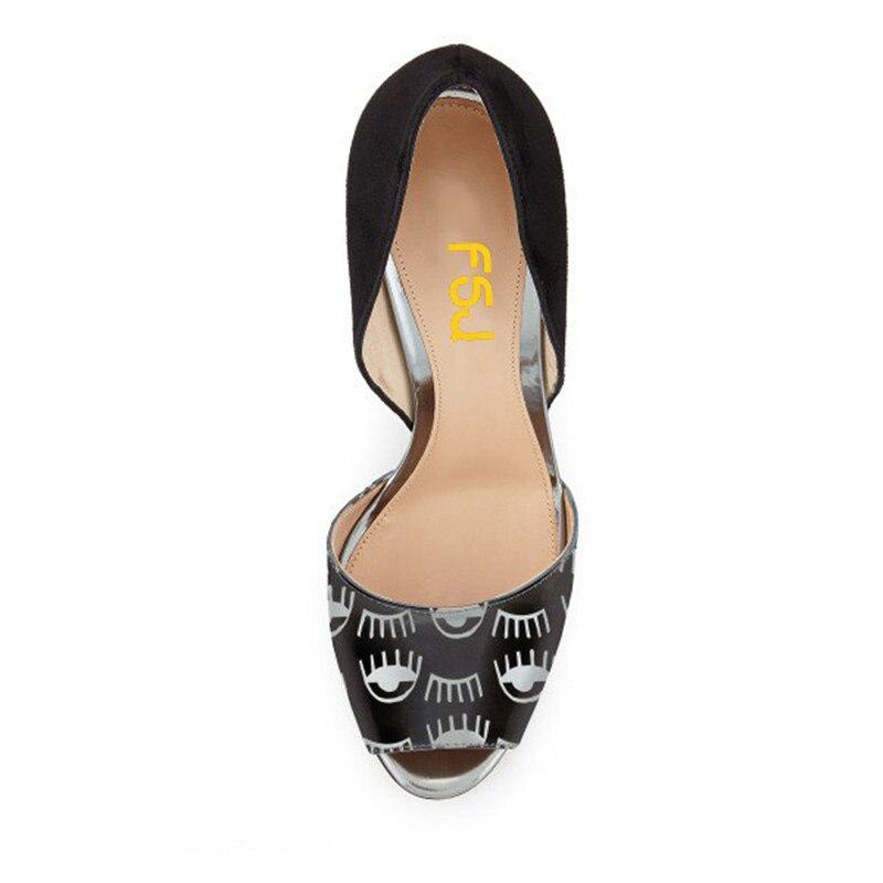 La Toe 11 Fsj01 2018 Talons 15 Automne Peep Double Femmes Printemps 14 Taille Plus Pompes D'orsay Or Dames Noir Chaussures Yf66xq