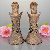 15ml Glass Ancients Vintage Bronze Slim Bottles Hollow Flower Precious Stone Accents Empty Arabic Perfume Glass