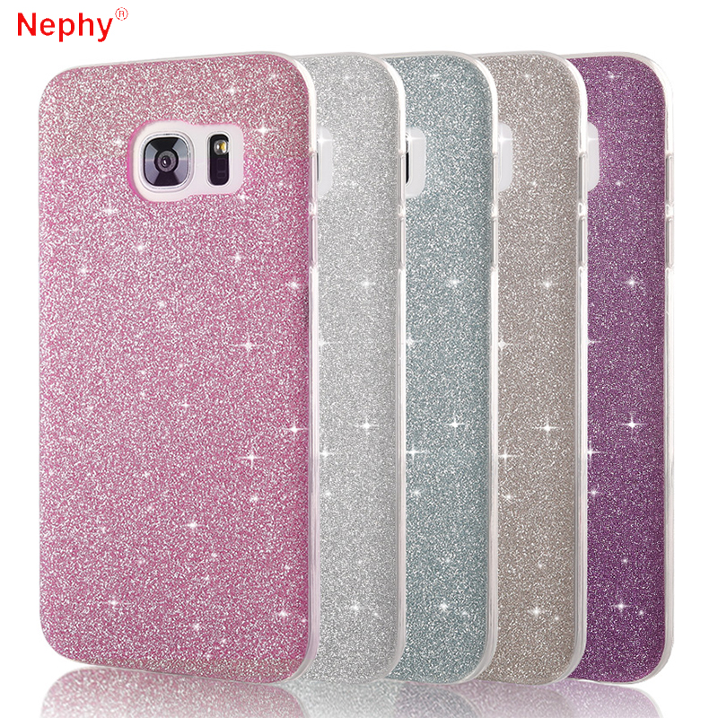 615a01130ed Shiny Powder Phone Case For Samsung Galaxy S6 S7 Edge S8 S9 Plus J3 J5 J7  A3 A5 A7