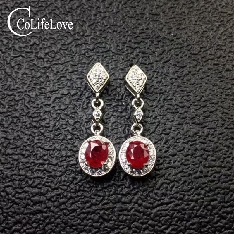 100% real heated ruby drop earrings for wedding 4 mm * 5 mm SI grade ruby earrings solid 925 silver ruby party jewelry girl gift 100% real heated ruby drop earrings for wedding 4 mm 5 mm si grade ruby earrings solid 925 silver ruby party jewelry girl gift