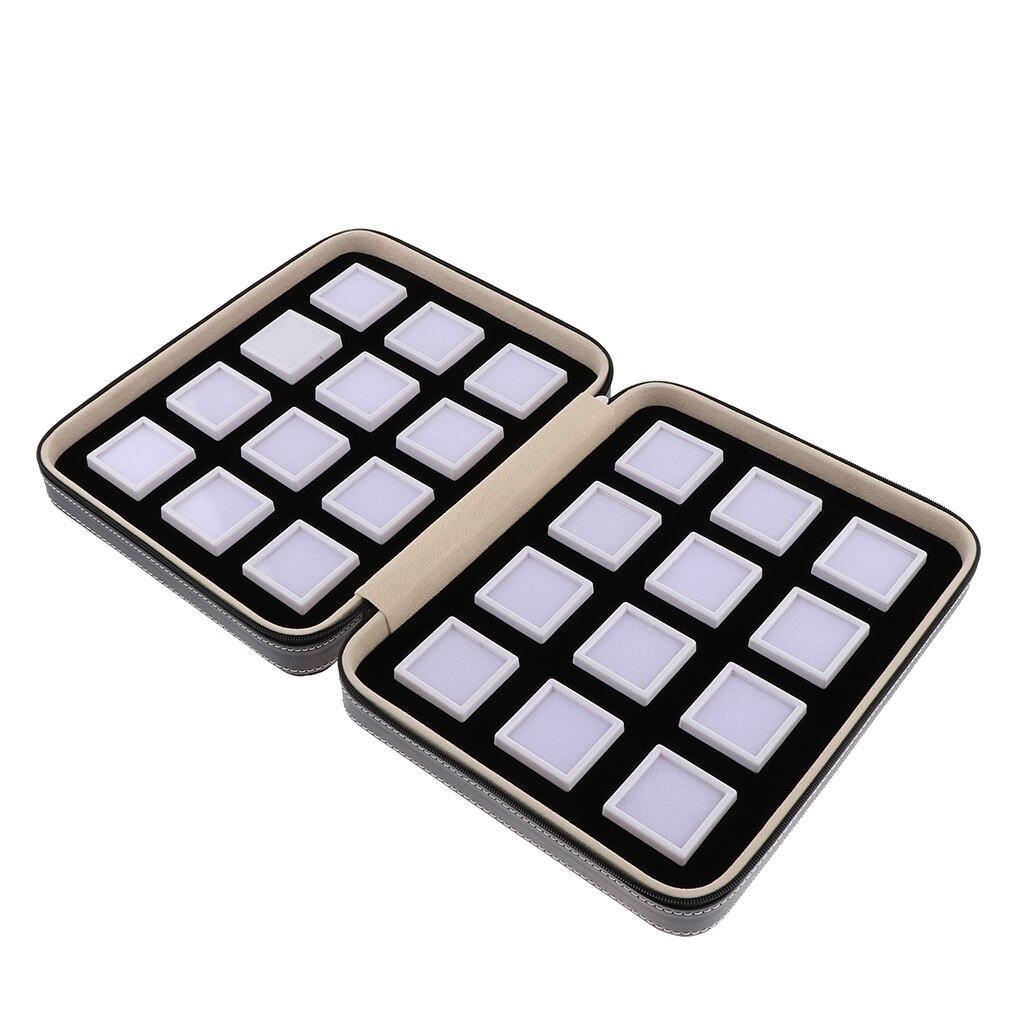24 grilles pot mousse Insert plateau bijoux affichage organisateur pierres précieuses perles mallette de rangement 255x205x60mm
