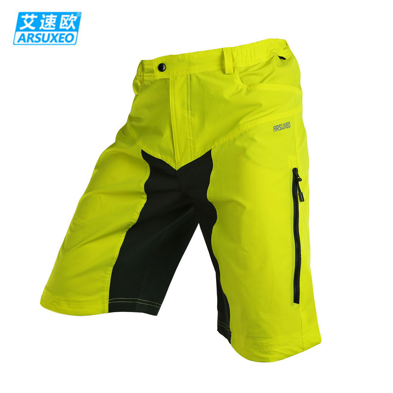 ARSUXEO Men's Downhill DH MX MTB Mountain Bike Shorts Breathable Outdoor Sports Bicycle Cycling Shorts With 3D Padded 2 Colors 2015 arsuxeo mtb 1202