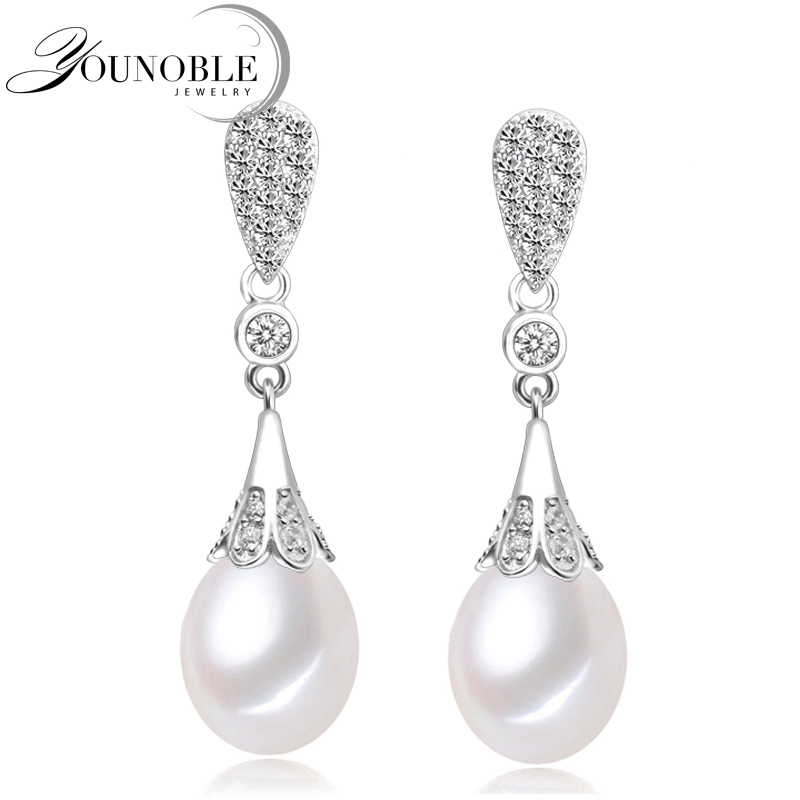 Genuine wedding freshwater pearl earrings for women,fashion natural pearl earrings 925 silver jewelry mom trendy best gift white