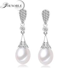 Genuino perlas de agua dulce pendientes de la boda para las mujeres, moda pendientes de la perla natural 925 de plata de joyería de moda mejor regalo de la mamá blanco