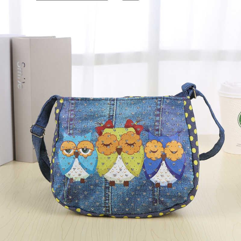 ab1ac96987c8 ... Мультфильм Дети Мини Курьерские сумки для девочек джинсовые с принтом  Совы школьная сумка портфель для девочек ...