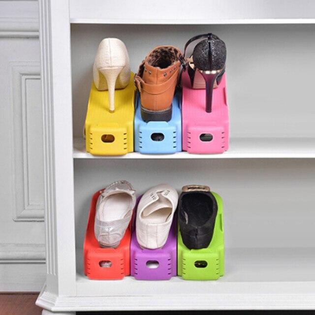 1pc New Popular Double Shoe Racks Bathroom Shelves Cleaning Storage Shoes  Rack Living Room Shoebox Shoes