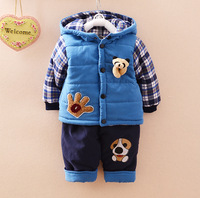 2016 New Chidren Kids Boys Clothing Set Autumn Winter 2 Piece Sets Hooded Warm Coat Suits
