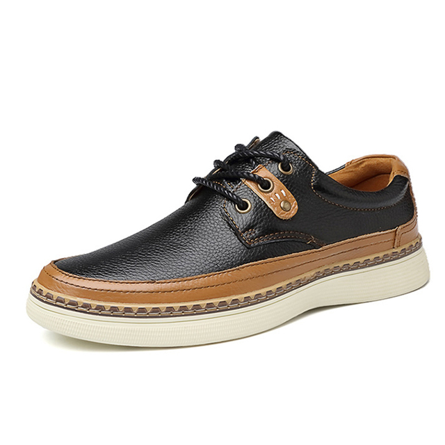 Британские Мужчины Обувь Повседневная Из Натуральной Кожи Мокасины на шнуровке Осень Обувь Скольжения На Комфорт Мягкой Бизнес Обувь Chaussure Homme