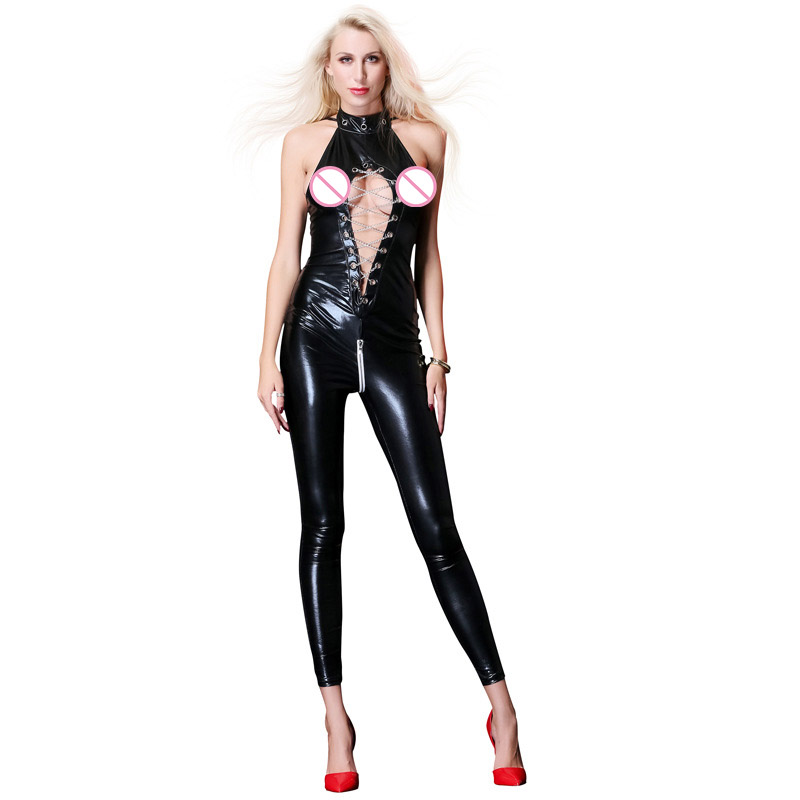 New Plus Size XL XXL Sleeveless Novelty Women Black Latex Catsuit  Hollow Out Bodysuit Pole Dance Night Clubwear Erotic Catsuit