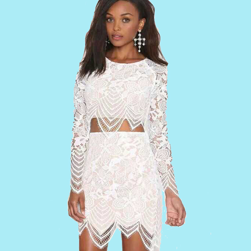 women lace hollow crochet dresses summer fashion Irregular 2piece dress  white o-neck long sleeve elegant dress sexy women outfit e7af5ccb47