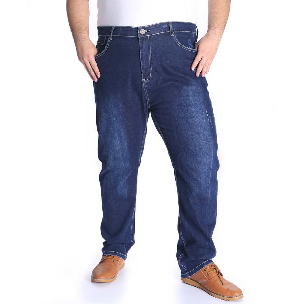 Plus Size Mens Regular Jeans Trousers Winter Thick Denim Pant Classic Dark Blue Black Oversize Large Big Male Clothing 30-48