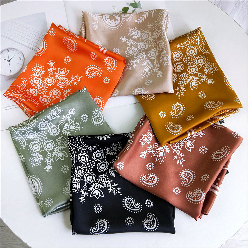 70X70CM Cashew Printed Small Square Imitated Silk Scarf For Women Joker Decorative Art Elegant Kerchief Ladies Scarves Shawls