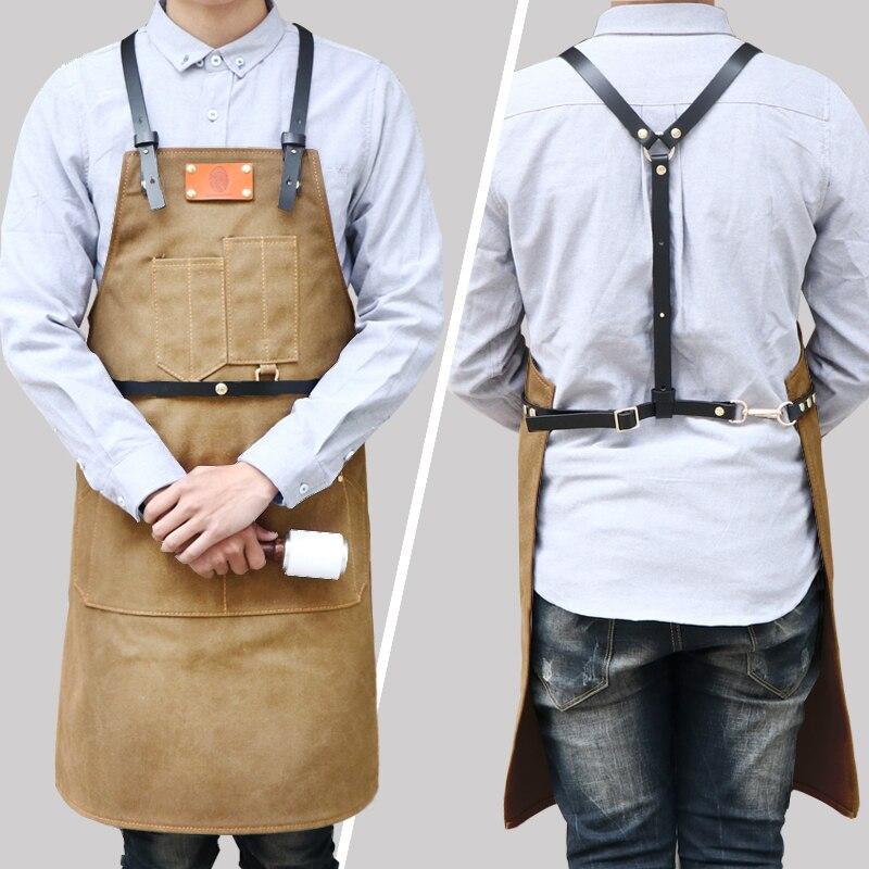 Fashion cowboy canvas leather apron cafe uniforms straps aprons hair stylist restaurant