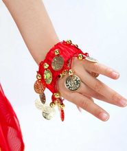 Kids Belly Dance Costumes Accessories 2 Pieces Set Bronze Beads Wristband & Armband Adjustable Fit Gypsy Jewelry Bracelets(China)