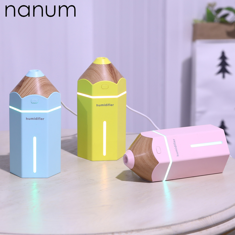 Creative Mini Pencil Humidifier Essential Oil Diffuser 230ml Aroma Lamp LED Magic Light USB Fogger Car Air Freshener
