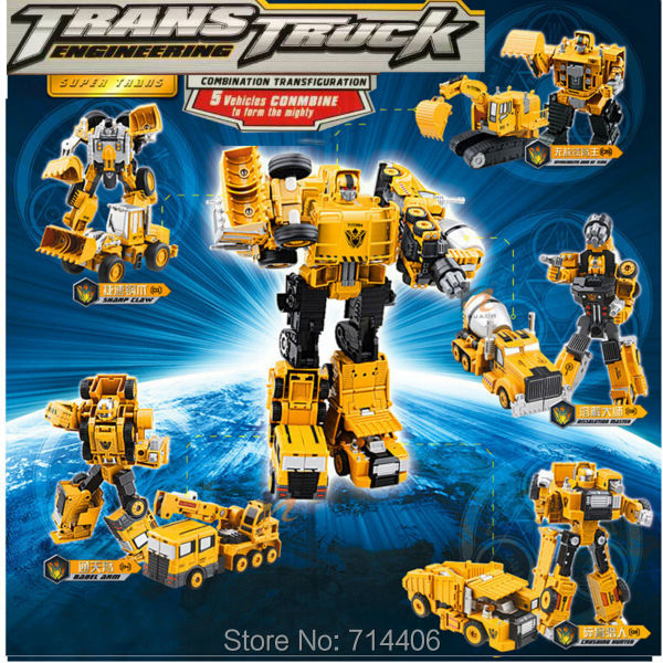 5 in 1Trans truck engineering transformation robot car toys,Deformation car Metal Alloy Construction Vehicle druck children gift car transformers deformation robot transformers bumblebee model car toys for children