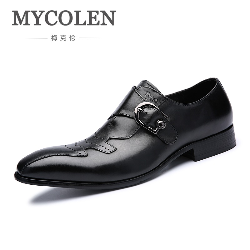 MYCOLEN High Quality Genuine Leather Men Formal Shoes Business Casual Pointed Toe Buckle Strap Dress Wedding Men Dress Shoes