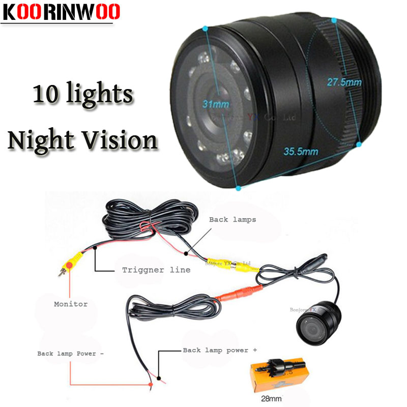 Koorinwoo 10 Ir Infrared Lights Night Vision Waterproof Car Rear View font b Camera b font