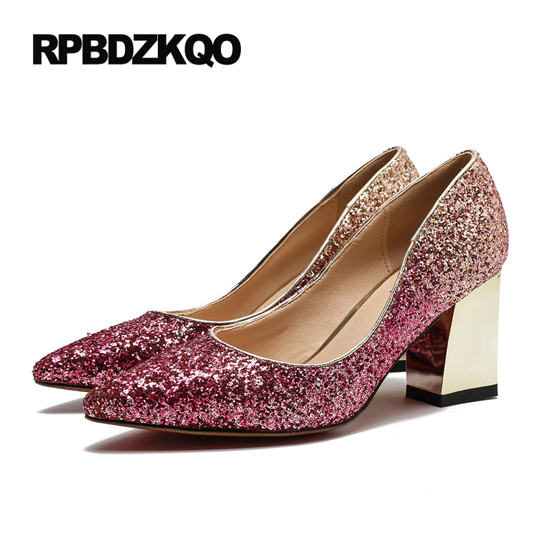 2fbe87346319 Glitter High Heels Pointed Toe Metal 5cm 2 Inch Big Size Wine Red Bridal Shoes  Pumps Sequin Gold 9 40 Women Thick Silver Autumn