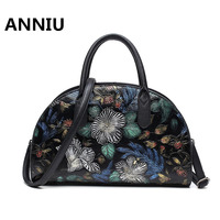ANNIU 2017 New Women Chinese Vintage Hand Painted Handbags Famous Brand High Quality 3D Printing Flower