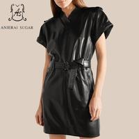 Spring Autumn Women's Genuine Leather dress black Sexy slim waistband zipper short sleeve V neck female real leather dresses