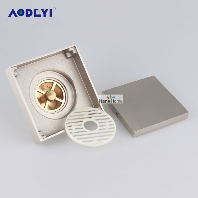 AODEYI Brushed Nickel Solid Brass Square Anti-Odor Floor Drain Bathroom Hardware Invisible Shower Floor Drain Bathroom free shipping 4 invisible brass anti odor bathroom shower floor drain sewer filter dr029