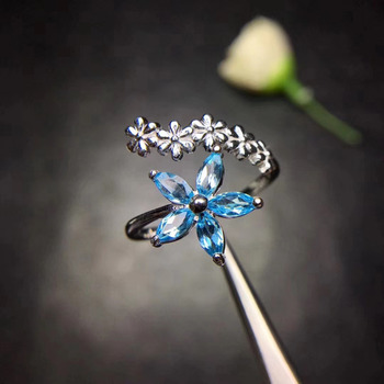Elegant Wheat Flower Stars Natural blue topaz Ring S925 Silver Natural gemstone Adjustable size Ring Women party gift Jewelry фото