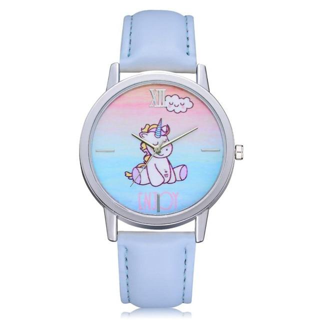 Children's watches Fashion Cute Sleeping Unicorn Animal Kids watch Girls Leather