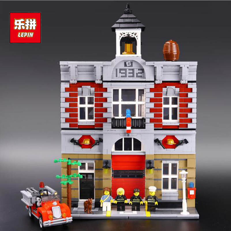 Lepin Street Series Building Blocks Set Fire Brigade Model 2813pcs Bricks Toys Compatible Christmas Gifts For Children 15004 full set 3 styles transformation robot series mini bricks toys diy diamond model nano building blocks hot selling children gifts