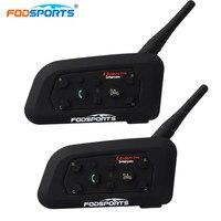 Fodsports 2pcs Lot V6 Pro Motorcycle Helmet Bluetooth Headset Free Metal Intercom 6 Riders 1200M BT